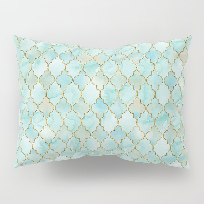 Luxury Aqua and Gold oriental pattern Pillow Sham