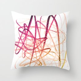 Crimson Sunset Goldenrod Tangled Abstract Throw Pillow