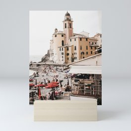 Italian Riviera, seaside village postcard style beach vibes | Italian travel photography fine art wall prints Mini Art Print