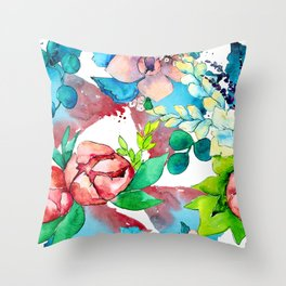 Pastel Watercolor Floral Print in Soft Blues & Pinks Throw Pillow
