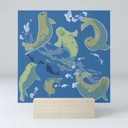 Arctic Playful Seals in Alaska Marine Blue Mini Art Print