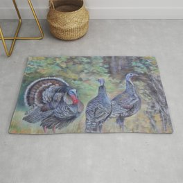 Wilde turkeys in the forest landscape Wildlife Birds pastel painting Rug