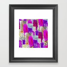 Modern pink watercolor abstract geometric hand painted pattern Framed Art Print