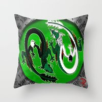 ying yang Throw Pillows featuring ying yang by Nerd Artist DM