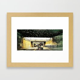 Rain and Bike Framed Art Print