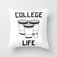 college Throw Pillows featuring College Life by Danielle Menard