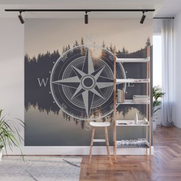 Wooded Lake Reflection Compass Wall Mural