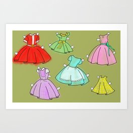 1950's paper doll dresses Art Print