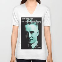 fitzgerald V-neck T-shirts featuring Francis Scott Fitzgerald by Guido prussia