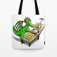 dentist Tote Bags featuring Dragon Dentist by Tory Erpenbeck