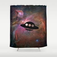 ufo Shower Curtains featuring UFO by Ace of Spades