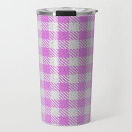 Violet Buffalo Plaid Travel Mug