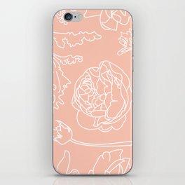 Peony Print (Peach) iPhone Skin