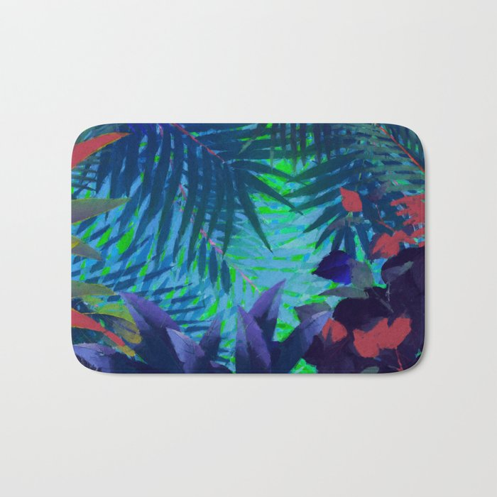 Colorful abstract palm leaves Bath Mat