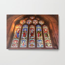 Stained Glass Abbey Window Metal Print
