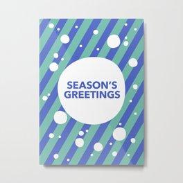 Season's Greetings Candy Cane Snow Stripe Metal Print