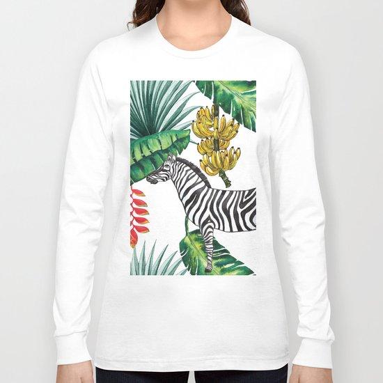 watercolor banana leaves with zebra Long Sleeve T-shirt