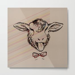 Cheeky sheep with a bow tie II Metal Print
