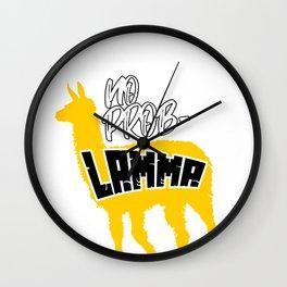 Llama No Problamma pun Funny Alpaca Problem Gift Wall Clock