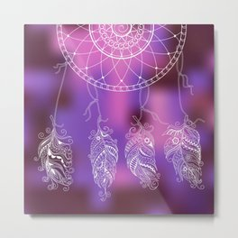 violet ethnic pattern with feathers Metal Print