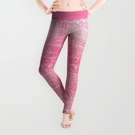 Geometrical girly pink watercolor abstract tribal Leggings