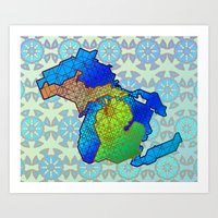 michigan Art Prints featuring Michigan by Dusty Goods