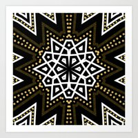 Black White + Gold Geometric Star Art Print