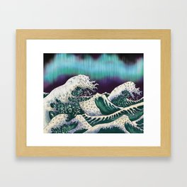 Northern Lights Ocean Waves Framed Art Print