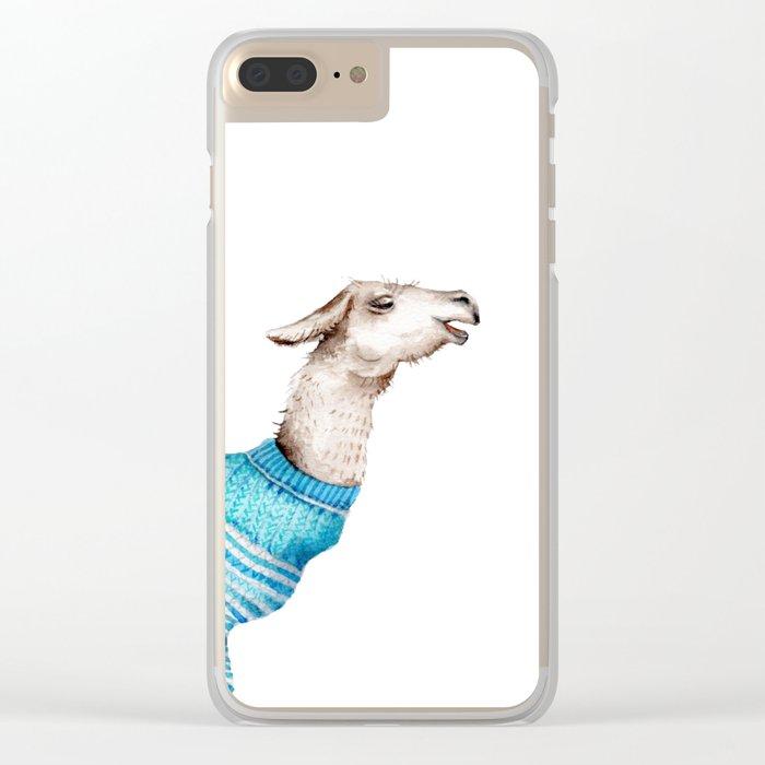 Llama in a Blue Sweater Clear iPhone Case