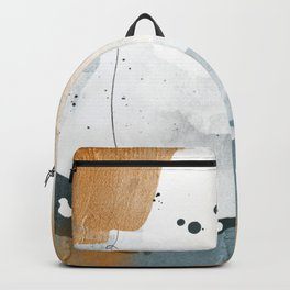 Abstract - Golden Depths 3 - Aqua and Gold Textured Design Canvas Print Backpack