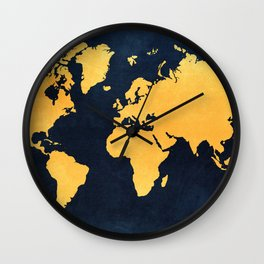 Map of the World - Inverted Gold Wall Clock