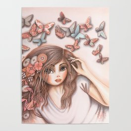 Paper Butterflies with girl Poster