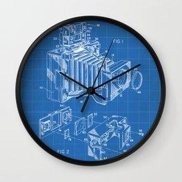Vintage Camera Patent - Photographic Camera Art - Blueprint Wall Clock