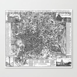 Vintage Map of Rome Italy (1721) BW Canvas Print