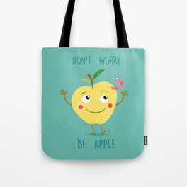 Don't Worry be Apple Yellow Tote Bag