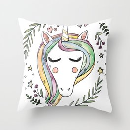 Cute Unicorn Throw Pillow