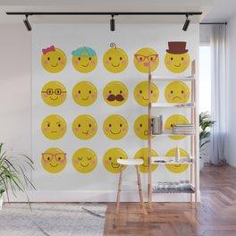Cheeky Emoji Faces Wall Mural
