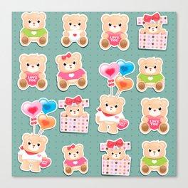 Cute teddy bear Pattern on green background Canvas Print