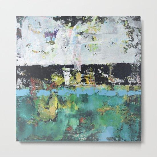 Aloe Abstract Painting Green Metal Print