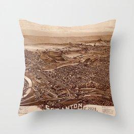 Map Of Scranton 1890 Throw Pillow