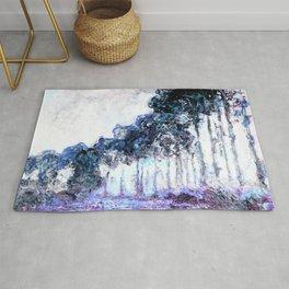 Monet : Poplars Lavender Periwinkle Deep Blue Rug