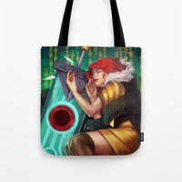 transistor Tote Bags featuring Don't Let Me Go by RowenaY