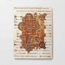 Book Of Kells Incipit To Luke On Script Metal Print