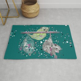 Green possum trio on a branch - Teal Rug