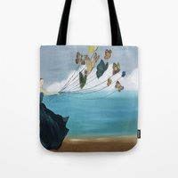 baloon Tote Bags featuring Butterfly Baloon by ArtSchool