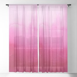 Modern fuchsia watercolor paint brushtrokes Sheer Curtain