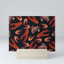 Lobster - Crab - Shrimps black background Mini Art Print