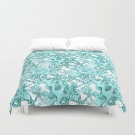 Coral and Star fish in blue Duvet Cover