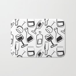Wine Lovers Illustrated Wine Glasses and Wine Bottles Bath Mat
