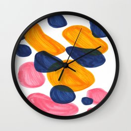 Mid Century Modern Minimalist Abstract Colorful Bubbles Pebbles Yellow Navy Blue Pink Wall Clock
